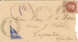 L De St Julien Sur Suran (Jura) Adressée En Poste Restante à Carpentras. Demi Timbre Taxe à 1Fr Pour La Taxe De PR à 50c - Guerre De 1939-45
