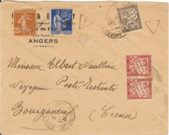 L D'Angers Adressée En Poste Restante à Bourganeuf Avec Taxe Cumulative De 2 Lettres Et 1 Journal( 30 X2 +10) - 12/38 - 1921-1960: Periodo Moderno