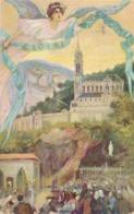 CPA Colorisée 10. A La Gloire De Lourdes Union Postale Universelle Circulée - Lourdes