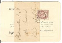 Carton D'invitation à Un Bal à Vendat (Allier) Affranchie Par Blanc 2c N°108 Sur Bande (manque Le Dos De La Bande) 1914 - Marcophilie (Lettres)