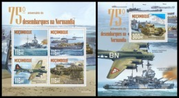 MOZAMBIQUE 2019 - Normandy Landings, Ships. M/S + S/S. Official Issue [MOZ190525] - Barche