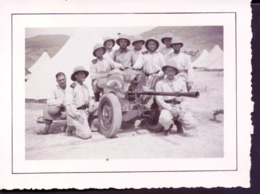 Photo Soldat Devant Un Canon Algerie Boghar 1937 - Documenten