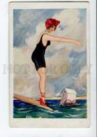 402722 FASHION Swimming Belle SUIT Vintage Colorful PC - Künstlerkarten