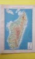 CARTE MADAGASCAR PHYSIQUE 1930 - Carte Geographique