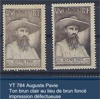 """FR Variétés YT 784"""" Auguste Pavie"""" Ton Brun Clair Au Lieu De Brun Foncé - Varieties: 1945-49 Mint/hinged"""