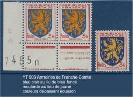 """FR Variétés YT 903 """" Armoiries De Franche-Comté """" Voir Détail - Variétés Et Curiosités"""