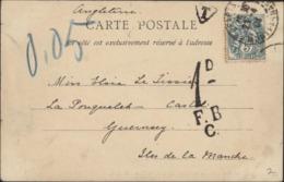 YT 111 Blanc Paris 21 4 04 Montparnasse Taxe GB 1d FBC Triangle T + 0.05manuscrit CPA Paris Lion Belfort Pr Guernesey - Marcophilie (Lettres)