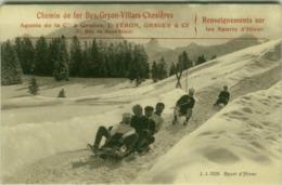 WINTER SPORT - SLEDGE - CHEMIN DE FER BEX-GRYON-VILLARS-CHESIERES - AGENT J.VERON - 1900s (5507) - Sport Invernali