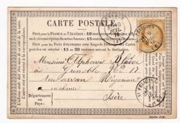 Carte Postale 1876 Saint-Félicien Ardèche Grenoble Isère Chanvre Cerès 15 Centimes - 1871-1875 Cérès
