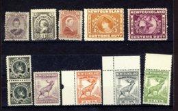 11x Newfoundland Mint Stamps #32-35 NH-60-Pr 58-190 + 2x Customs 3x I.R. $160.00 - Newfoundland