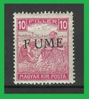 1918 Fiume Mietitori, 10 Filler Cifre Bianche MNH Soprastampa F UME - Fiume