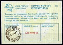 INDE / INDIA La22A 2,50 RUPEESInternational Reply Coupon Reponse Antwortschein IRC IAS o CALCUTTA 15.4.77 - Sin Clasificación