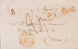 Sobre . 1848. AVILES A PARIS (FRANCIA). Baeza AVILES / ASTURIAS Y Marca FRANCO, En Rojo Y Muy Posiblemente Aplicada En T - Spagna