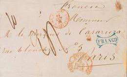Sobre . 1848. AVILES A PARIS (FRANCIA). Baeza AVILES / ASTURIAS Y Marca FRANCO, En Azul Y Muy Posiblemente Aplicada En T - Spagna