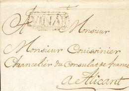 Sobre . 1761. VINAROZ A ALICANTE. Marca VINAR (recuadrada). MAGNIFICA Y EXTRAORDINARIAMENTE RARA, NO RESEÑADA EN LA OBRA - Spagna