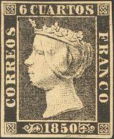 *1. 1850. 6 Cuartos Negro (I-7). MAGNIFICO. Cert. CEM. - Spagna