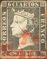 º1. 1850. 6 Cuartos Negro. Matasello Prefilatélico Tª / ARAGON, En Rojo De Torremocha (se Adjunta Carta Prefilatélica Co - Spagna