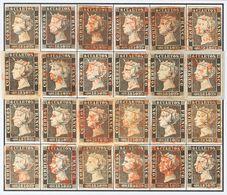 º1(24). 1850. Reconstrucción Completa Del 6 Cuartos Negro, Incluyendo Los Veinticuatro Tipos De La Plancha I E Inutiliza - Spagna