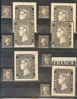 º1(10). 1850. Interesante Conjunto De Diez Sellos Del 6 Cuartos Negro Que Incluye Diversas Variedade De Cliché, Alguna D - Spagna