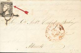 Sobre 1. 1850. 6 Cuartos Negro, Variedad De Cliché Diagonal (Guezala, 5). SAN CLEMENTE A ALBACETE. MAGNIFICA Y RARA. - Spagna