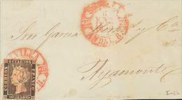Sobre 1. 1850. 6 Cuartos Negro. Frontal De SEVILLA A AYAMONTE. Matasello Baeza SEVILLA / ANDAL. B. MAGNIFICO Y ESPECTACU - Spagna