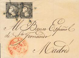 Sobre 1(2). 1850. 6 Cuartos Negro, Pareja. LUGO A MADRID. Matasello ARAÑA Y En El Frente Baeza LUGO / GALICIA. MAGNIFICA - Spagna