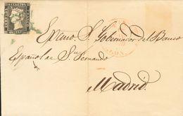 Sobre 1. 1850. 6 Cuartos Negro. PONFERRADA A MADRID. Matasello ARAÑA, En Azul Y En El Frente Baeza PONFERRADA / LEON. MA - Spagna