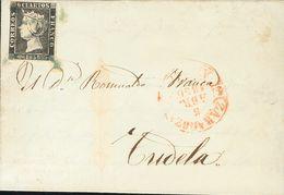 Sobre 1. 1850. 6 Cuartos Negro. ZARAGOZA A TUDELA. Matasello ARAÑA, En Azul. MAGNIFICA. - Spagna