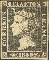 *1A. 1850. 6 Cuartos Negro (invisible Cortecito En El Margen Derecho, Aun Así Magnífica Presencia). Cert. COMEX. - Spagna