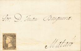 Sobre 1A. 1850. (15 De Noviembre). 6 Cuartos Negro (sin Matasellar). BARCELONA A MATARO. Circulada Sin Inutilizar Por Ha - Spagna