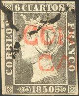 º1A. 1850. 6 Cuartos Negro. Matasello Mixto ARAÑA Y Prefilatélico CORCVBION / GALICIA, En Rojo (se Adjunta Carta Prefila - Spagna