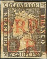 º1A. 1850. 6 Cuartos Negro. Matasello Prefilatélico TORRLLª / SORIA, En Rojo (se Adjunta Carta Prefilatélica Con La Marc - Spagna