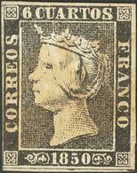 º1A. 1850. 6 Cuartos Negro. Matasello Prefilatélico (débil) GALICIA / CALDAS, En Verde (se Incluye Además Una Carta Circ - Spagna