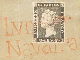 º1A. 1850. 6 Cuartos Negro (la Pieza Está Sobrepuesta Sobre Un Fragmento Prefilatélico De época). Matasello Prefilatélic - Spagna