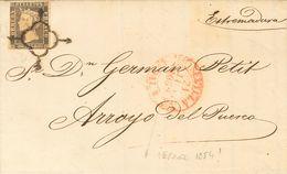 Sobre 1A. 1850. 6 Cuartos Negro. SEVILLA A ARROYO DEL PUERCO (CACERES). Matasello ARAÑA Y En El Frente Baeza SEVILLA / A - Spagna