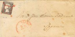 Sobre 1A. 1850. 6 Cuartos Negro. CORELLA A CAPARROSO. Matasello ARAÑA, En Rojo. MAGNIFICA Y RARA. - Spagna