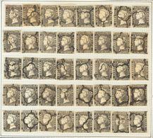 º1A(40). 1850. Reconstrucción Completa Del 6 Cuartos Negro, Incluyendo Los Cuarenta Tipos De La Plancha II E Inutilizado - Spagna