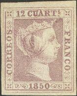 (*)2. 1850. 12 Cuartos Lila (replacado). MAGNIFICO. Cert. COMEX. - Spagna