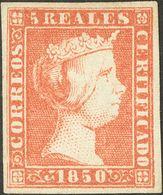 (*)3. 1850. 5 Reales Rojo. Color Y Márgenes Excepcionales. PIEZA DE LUJO. Cert. EXFIMA. - Spagna