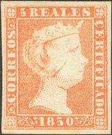 *3. 1850. 5 Reales Rojo (inapreciable Reparación En El Margen Inferior). MAGNIFICO. Cert. CEM. - Spagna