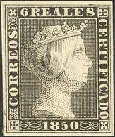 (*)4P. 1850. 6 Reales Negro. PRUEBA DE PUNZON. MAGNIFICA Y RARISIMA. (Gálvez, 3) - Spagna