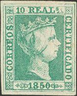 (*)5. 1850. 10 Reales Verde. Color Intenso Y Buenos Márgenes. PIEZA DE LUJO. Cert. COMEX. - Spagna