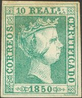 (*)5. 1850. 10 Reales Verde (leve Adelgazamiento). MAGNIFICO Y RARO. Cert. GRAUS. - Spagna