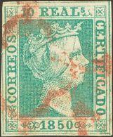 º5. 1850. 10 Reales Verde. Matasello ARAÑA, En Rojo. MAGNIFICO Y MUY RARO. Cert. COMEX. Edifil 2014: 7.250 Euros - Spagna