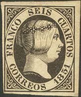 (*)6. 1851. 6 Cuartos Negro. Enormes Márgenes Y Color Muy Nítido. MAGNIFICO. Cert. COMEX. - Spagna