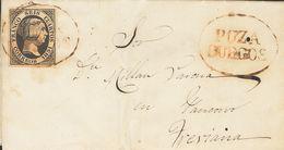 Sobre 6. 1851. 6 Cuartos Negro. POZA DE LA SAL A TREVIANA (LA RIOJA). Matasello Prefilatélico POZA / BURGOS, En Rojo. MA - Spagna