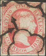 º9. 1851. 5 Reales Rosa (matasello Limpio). Amplios Márgenes Y Color Intenso. MAGNIFICO. - Spagna
