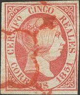 º9. 1851. 5 Reales Rosa. Matasello ARAÑA, En Rojo. MAGNIFICO Y MUY RARO, VERDADERAMENTE ESPECTACULAR. Edifil 2014: 835 E - Spagna