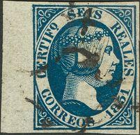 º10. 1851. 6 Reales Azul, Borde De Hoja. Enormes Márgenes Y Color Muy Nítido E Intenso. PIEZA DE LUJO, SIN DUDA UNO DE L - Spagna