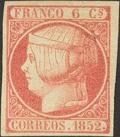 (*)12. 1852. 6 Cuartos Rosa. Color Y Márgenes Excepcionales. PIEZA DE LUJO. Cert. EXFIMA. - Spagna